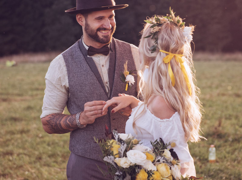 happy couple at a summer outdoor wedding
