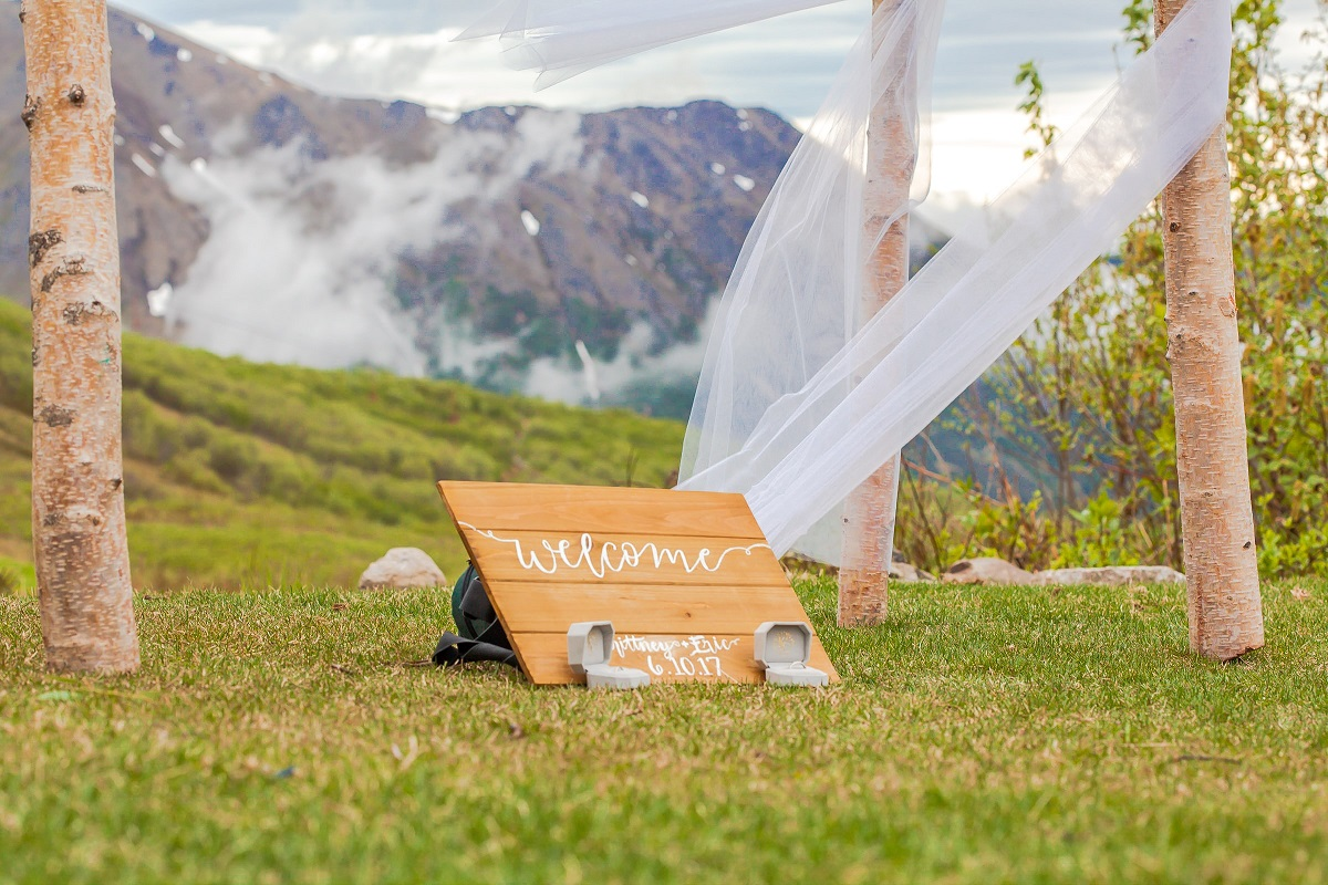 Planning an eco wedding use the backdrop for decor
