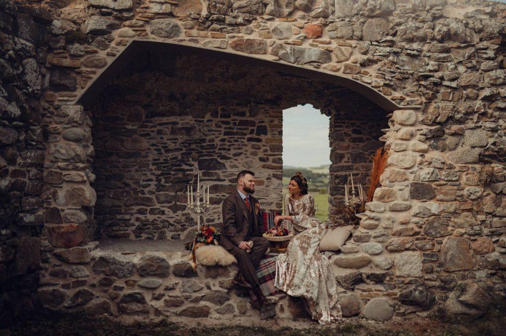 Couple at Castle Roy in Nethy Bridge